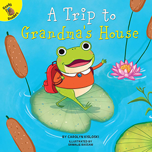 Book with a frog and a lily pad on it titled A Trip to Grandma's House from Amazon photo