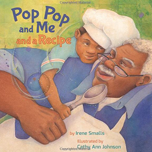 Book with a grandpa and child holding a spoon on it titled Pop Pop and Me and a Recipe from Amazon photo