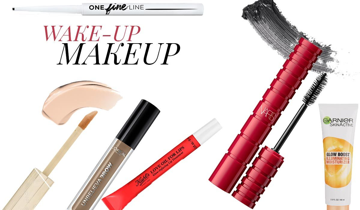 Collage of makeup products on white background photo