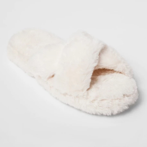 White fluffy slippers with an open-toe, criss-cross design photo
