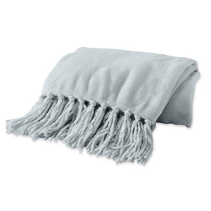Soft throw blanket with fringed detailing in Glacier Gray photo