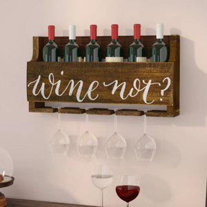Wooden wall-mounted wine rack that says,