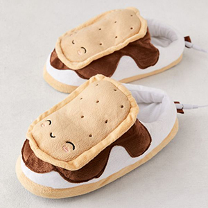 Cute white and brown slippers meant to look like s'mores. photo