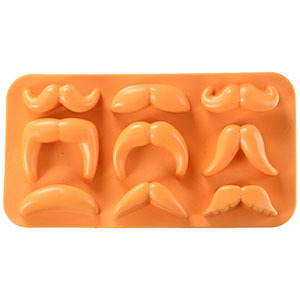 An orange silicone mold of nine different mustaches from Amazon. photo