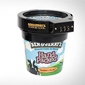 Ben & Jerry's pint of ice cream with lock protector on it. photo
