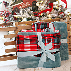 Gray fuzzy blankets with plaid design photo