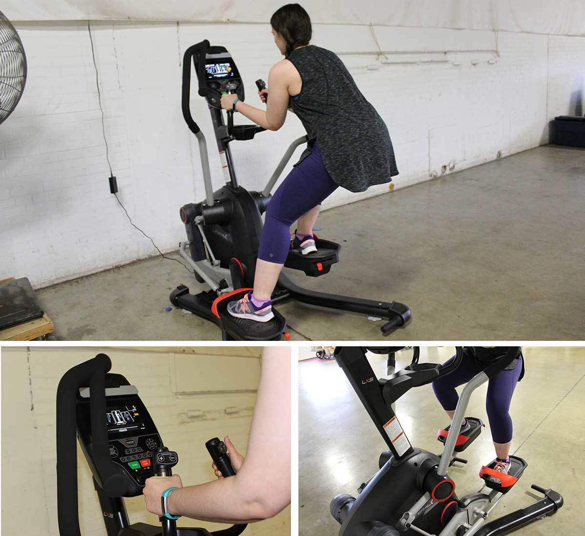 Anna Knief working out on the Bowflex LateralX LX5 machine in three different angles. photo