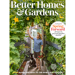Man tending to his garden on the cover of a magazine photo