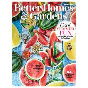 Lots of watermelon on the cover of a magazine photo