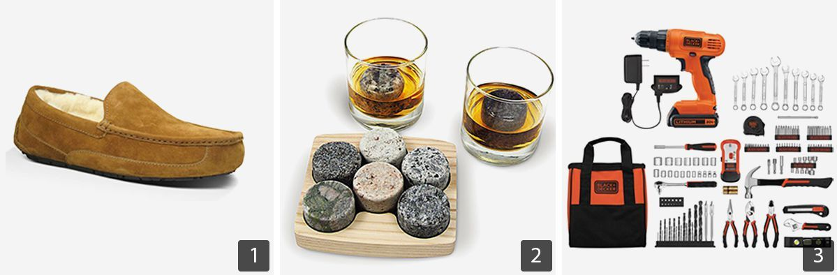 Grid of gift ideas including Ugg slippers, drink rocks, and Black & Decker tool kit photo