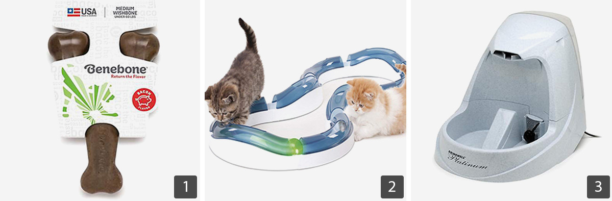 Grid of gift ideas including automatic water dispenser, chew toy for dog, and cat toy photo