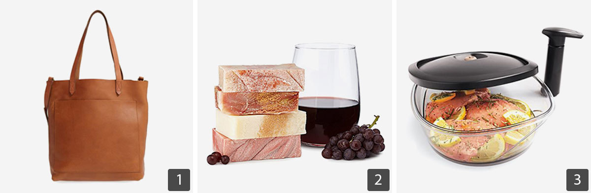 Grid of gift ideas including leather tote, wine soaps, and marinating container photo