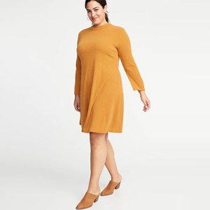 Plus-Size sweater swing dress in the color Tobacco Leaf photo