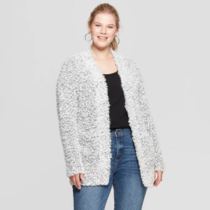Cream fluffy cardigan with black speckles photo