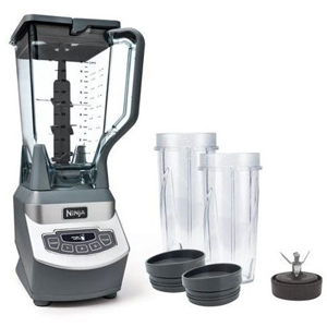 Black and gray Ninja blender with two travel cups. photo