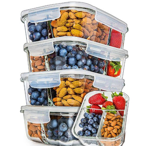 Set of 5 meal prep containers with three sections and snap lids. photo