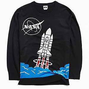 Black sweater with knitted image of the NASA logo and a rocket launching photo