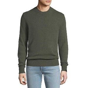 Mossy green-colored crewneck pullover sweater with ribbed cuffs and hem. photo