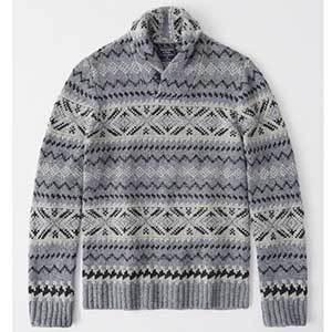 Gray, white, and black patterned shawl sweater. photo