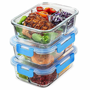 Glass meal prep containers with built-in compartments and locking lids photo