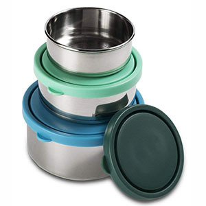 Round stainless steel food storage containers with blue and green plastic lids photo
