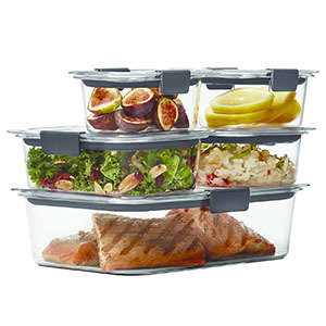 Set of Rubbermaid freezer-safe food storage containers photo