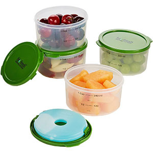 Food containers with portion measurements photo