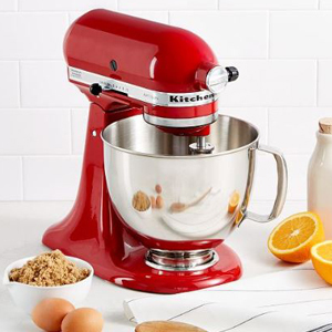 Red KitchenAid stand mixer with a five-quart mixing bowl photo