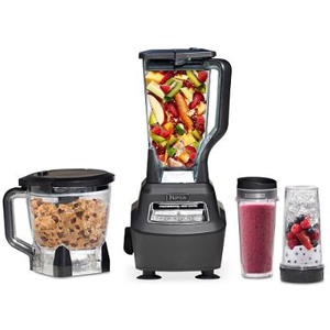 Ninja blender set with a blender, travel cups, and a food processor photo
