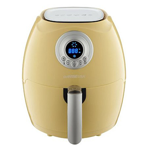 Retro electric air fryer in yellow photo