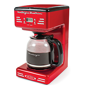 Retro 12-cup coffee maker in red photo