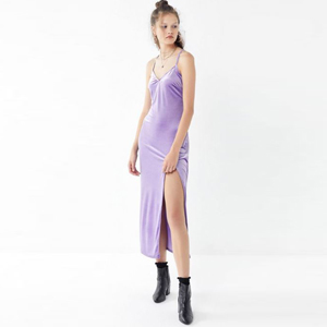 Purple velvet maxi dress with a slit up the side photo