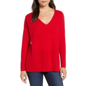 Nordstrom cashmere sweater in red photo