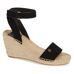 Black wedges with ankle strap photo