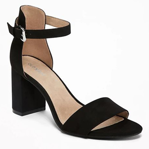 Black faux suede block heels with an ankle strap photo
