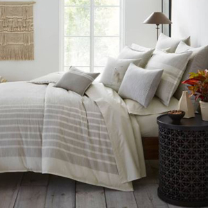 Vertical stripe duvet cover in gray and white photo