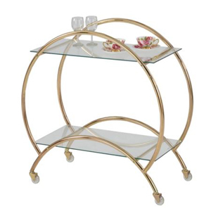 Gold bar cart with two glass shelves photo