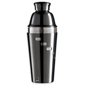 Black stainless steel cocktail shaker with recipes around it photo