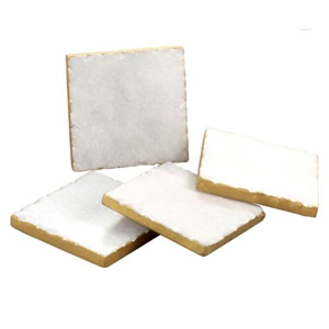 Square marble coaster set with a gold edge photo