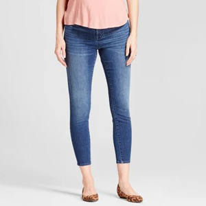 Blue maternity jeans with elastic adjustable band photo