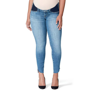 Light-wash maternity skinny jeans with stretchy panels on the sides photo