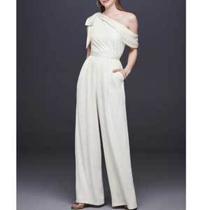 Bridal Jumpsuits for Wedding Day One-Shoulder Crepe Wedding Jumpsuit with Bow by DB STUDIO photo