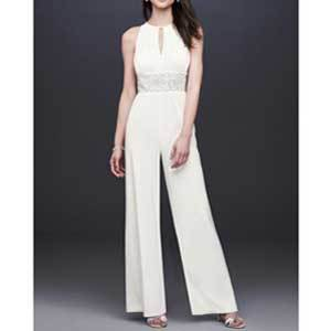 Bridal Jumpsuits for Wedding Beaded Jersey Halter Wedding Jumpsuit with Keyhole by R&M RICHARDS photo