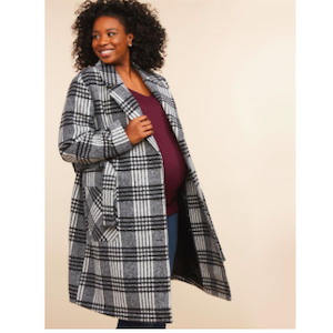 Maternity Coat Motherhood Maternity Plus-Size Button Front Wool Pea Coat photo