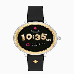 Best Fitness Trackers for Pregnant Moms Kate Spade Black Scallop Silicone Touchscreen Smartwatch photo