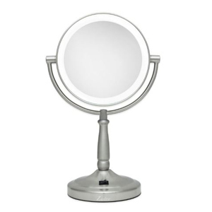 Round two-sided vanity mirror with LED lights photo