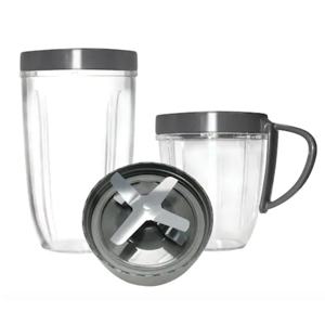 Five-piece set including two travel cups, lip rings, and a blade photo