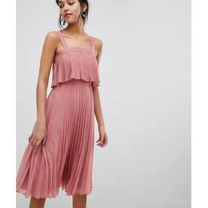 Cheap Bridesmaid Dresses Under $100 ASOS DESIGN Double Layer Pleated Cami Midi Dress photo