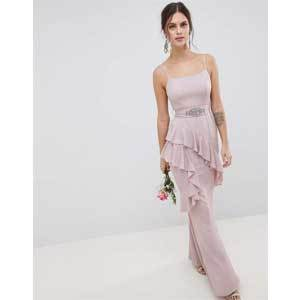 Cheap Bridesmaid Dresses Under $100 ASOS Design Ruffle Cami Maxi Dress with Embellished Belt photo