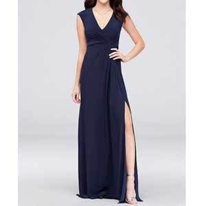 Cheap Bridesmaid Dresses Under $100 DB Studio Navy Blue Gathered Jersey V-Neck Dress with Keyhole Back photo